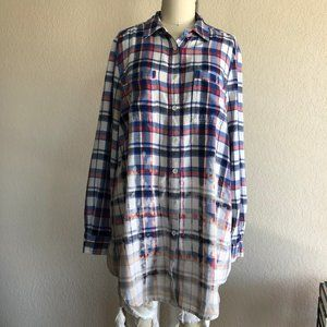 Sea NY Bleached Plaid Flannel Open Back Button Dow